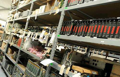 Aisles of industrial automation equipment stock
